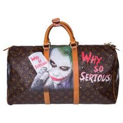 "Louis Vuitton Keepall 50 Travel bag in brown canvas customized ""Batman Vs Joker"""
