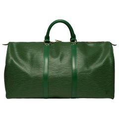 Louis Vuitton Keepall 50 Travel bag in green épi leather