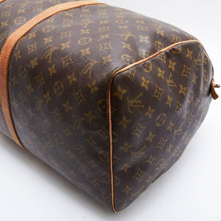 LOUIS VUITTON Keepall 55 Bag In Brown Monogram Canvas For Sale 5