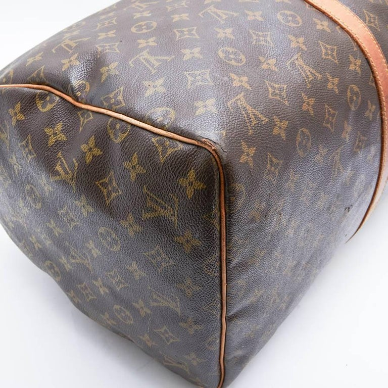 LOUIS VUITTON Keepall 55 Bag In Brown Monogram Canvas For Sale 6