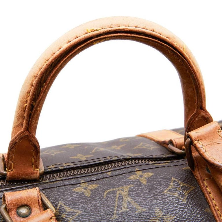 LOUIS VUITTON Keepall 55 Bag In Brown Monogram Canvas For Sale 7