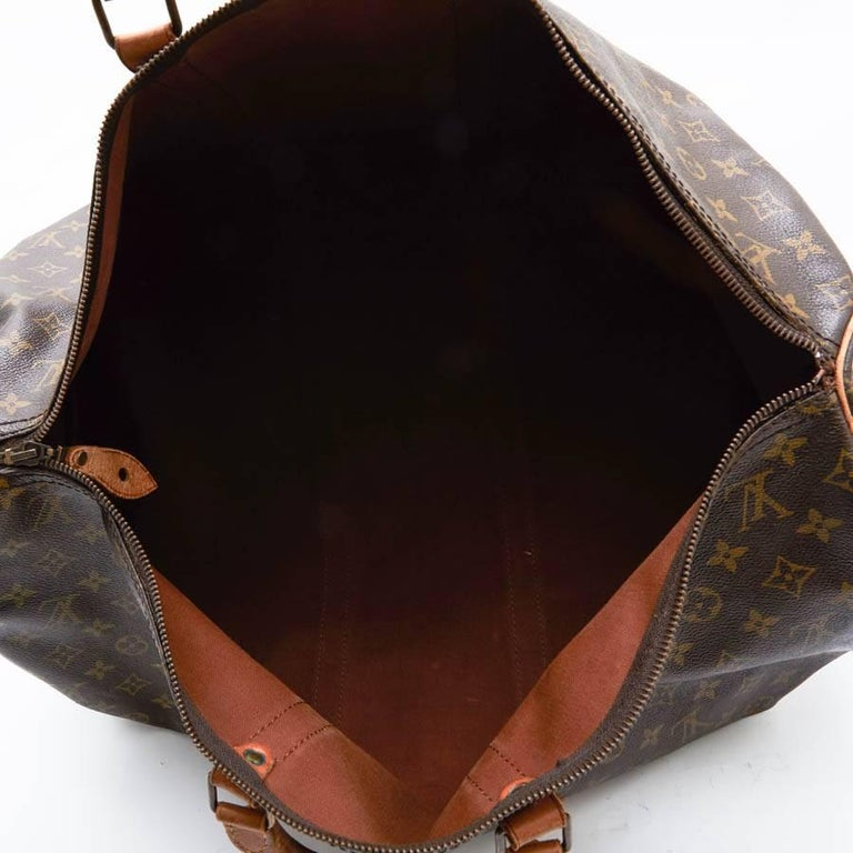 LOUIS VUITTON Keepall 55 Bag In Brown Monogram Canvas For Sale 8