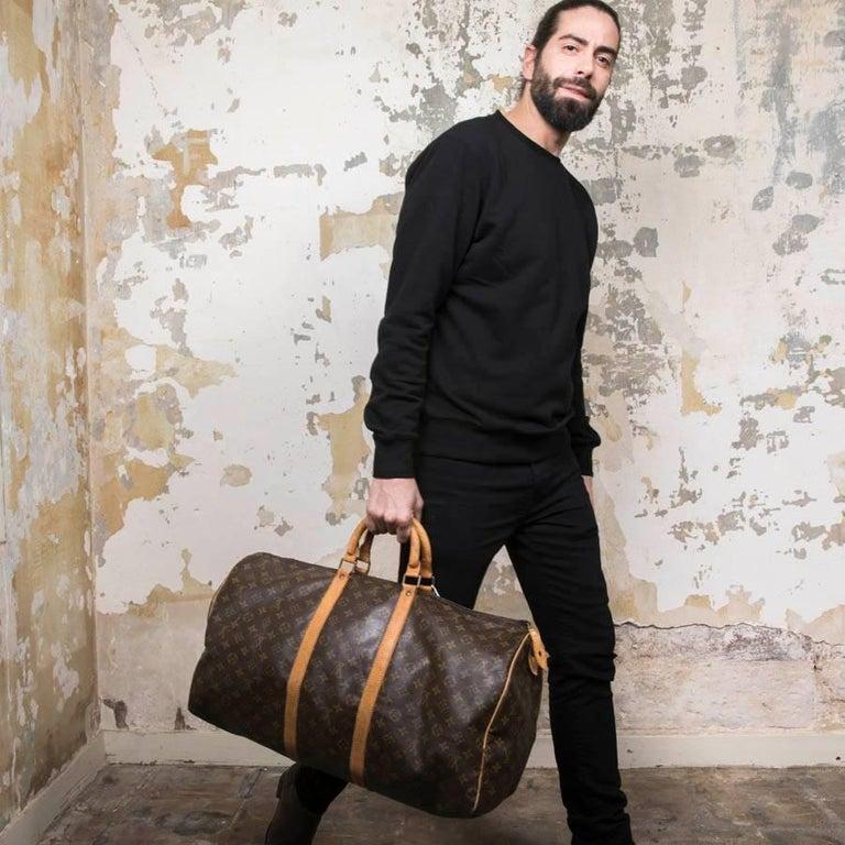Black LOUIS VUITTON Keepall 55 Bag In Brown Monogram Canvas For Sale