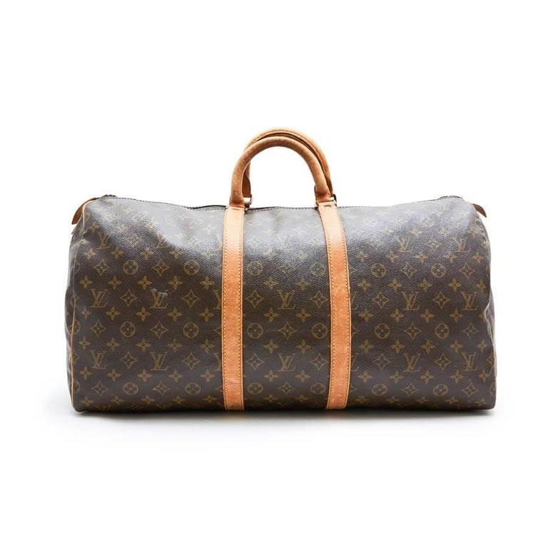 Women's or Men's LOUIS VUITTON Keepall 55 Bag In Brown Monogram Canvas For Sale