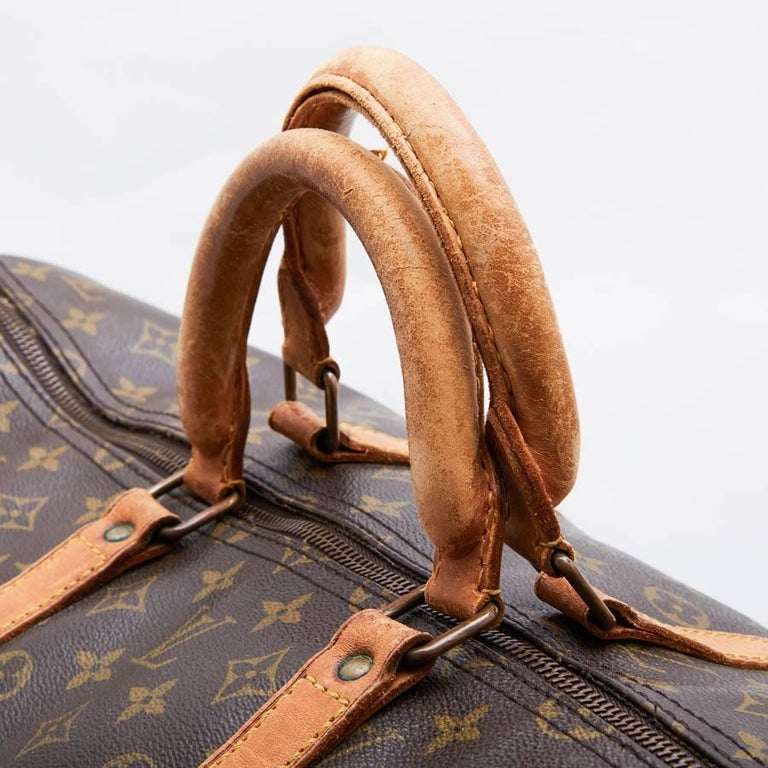 LOUIS VUITTON Keepall 55 Bag In Brown Monogram Canvas For Sale 2