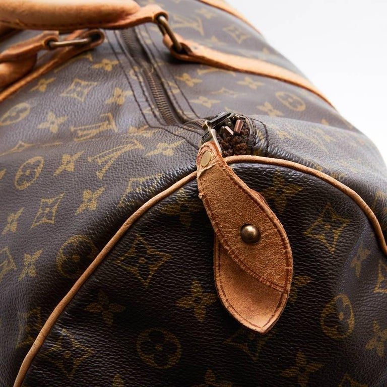 LOUIS VUITTON Keepall 55 Bag In Brown Monogram Canvas For Sale 4