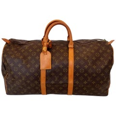 Louis Vuitton Keepall 55 Brown Monogram Duffle Handbag