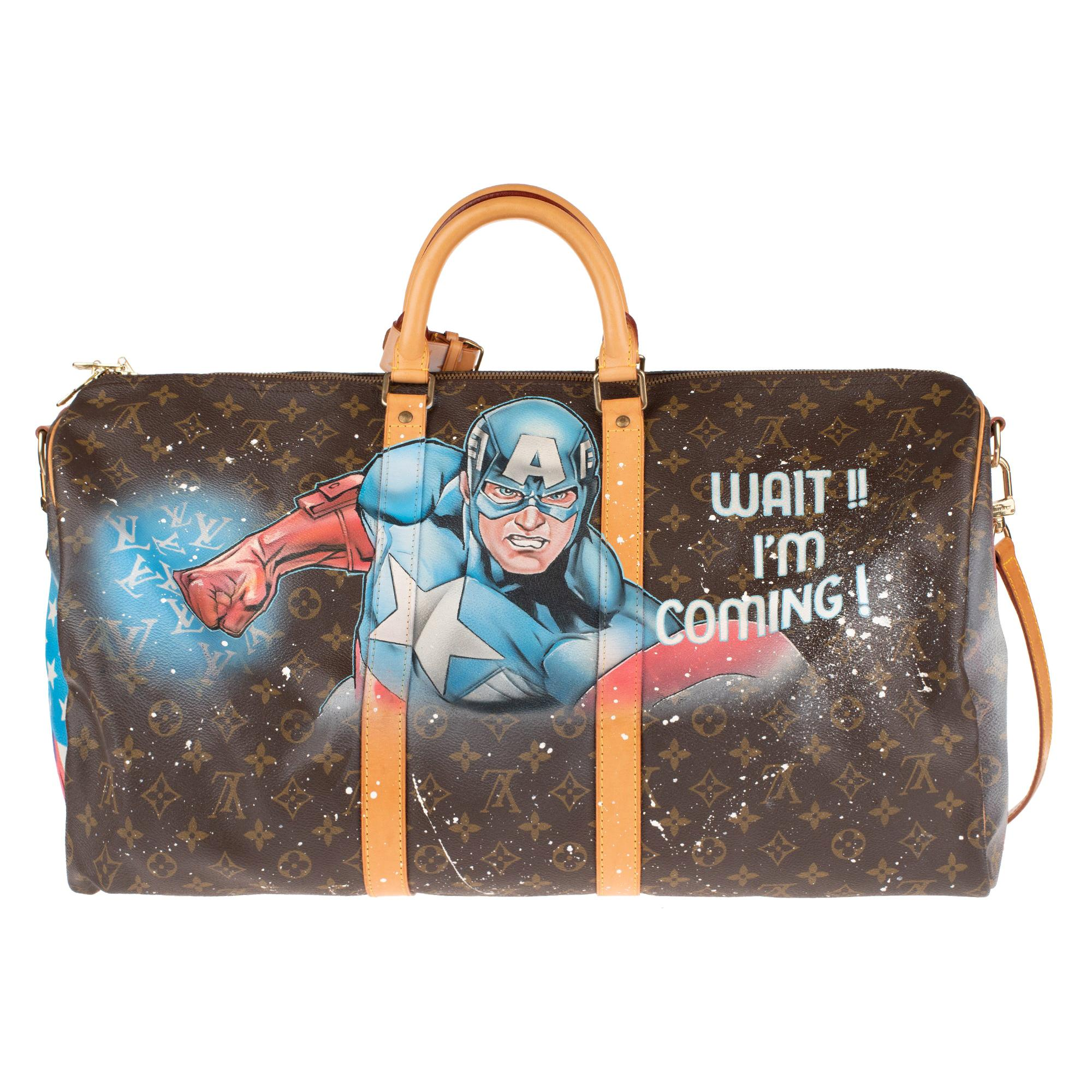 """Louis Vuitton Keepall 55 strap travel bag customized """"Captain America"""" by Patbo!"""