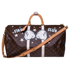 """Louis Vuitton Keepall 55 strap Travel bag customized """"Fight Club"""""""