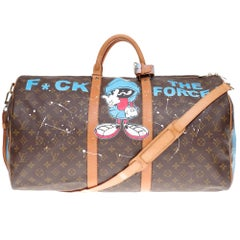 "Louis Vuitton Keepall 55 strap travel bag customized ""Popeye"" by PatBo!"