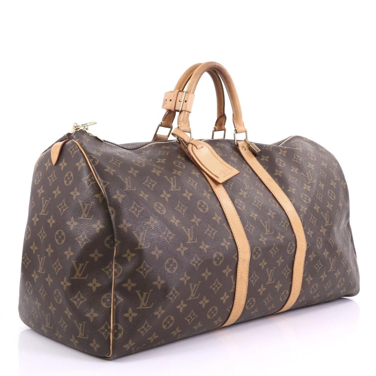 Gray Louis Vuitton Keepall Bag Monogram Canvas 55 For Sale