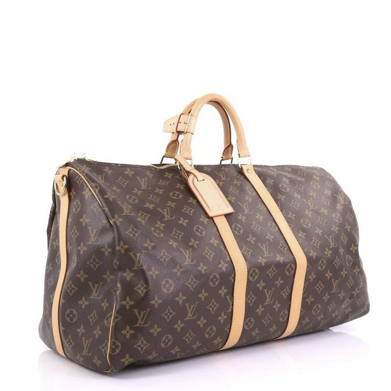 Black Louis Vuitton Keepall Bag Monogram Canvas 55 For Sale