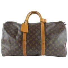 Louis Vuitton Keepall Bandouliere 50 4lz0907 Coated Canvas Weekend/Travel Bag