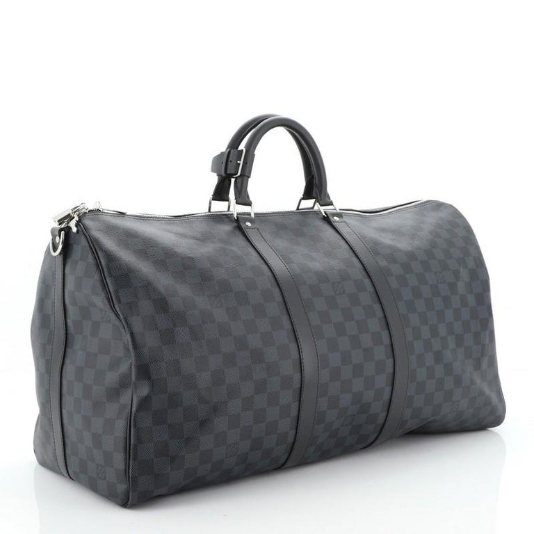 Louis Vuitton Keepall Bandouliere Bag Damier Cobalt 55 Interior Color: Black  In Good Condition In New York, NY