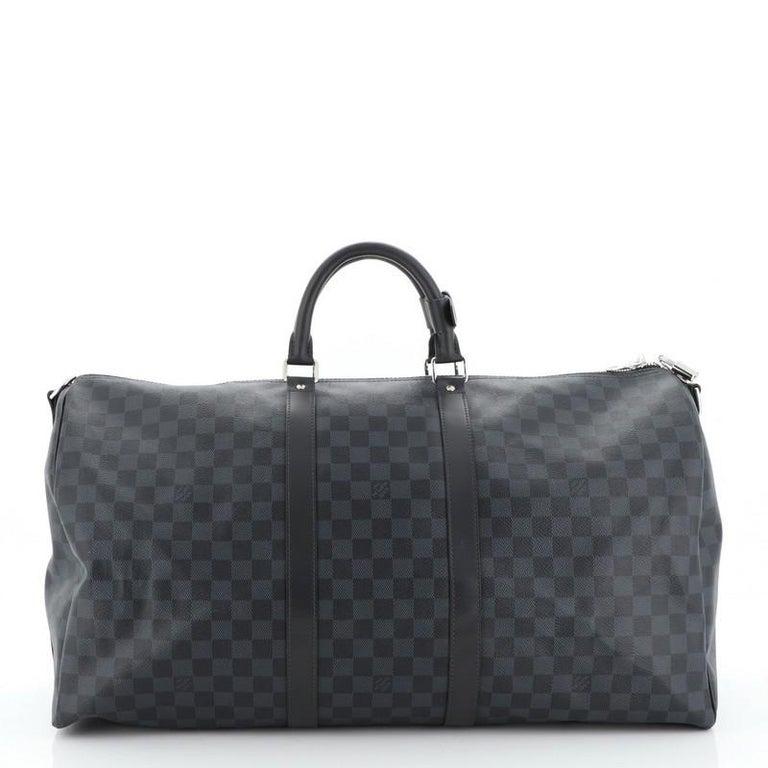 Women's or Men's Louis Vuitton Keepall Bandouliere Bag Damier Cobalt 55 Interior Color: Black