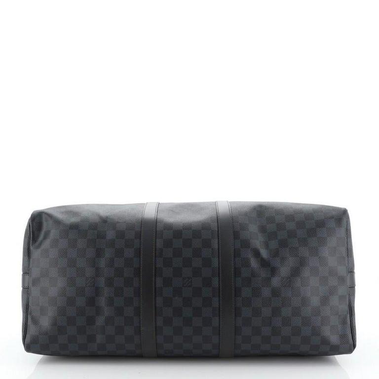 Louis Vuitton Keepall Bandouliere Bag Damier Cobalt 55 Interior Color: Black  1