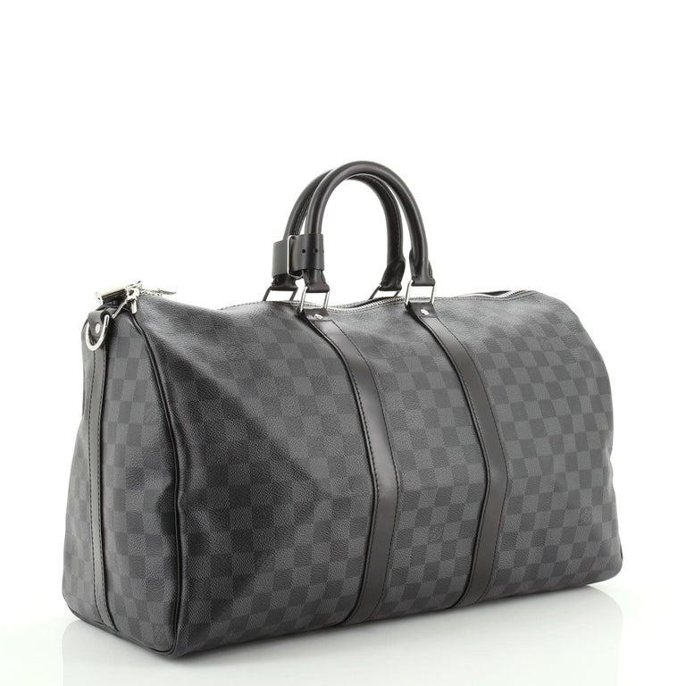 Black Louis Vuitton Keepall Bandouliere Bag Damier Graphite 45 For Sale