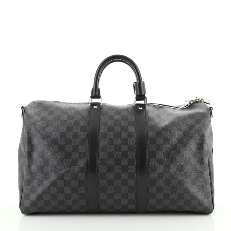 Louis Vuitton Keepall Bandouliere Bag Damier Graphite 45 In Good Condition For Sale In New York, NY
