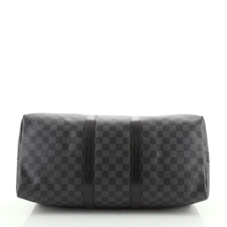 Women's or Men's Louis Vuitton Keepall Bandouliere Bag Damier Graphite 45 For Sale