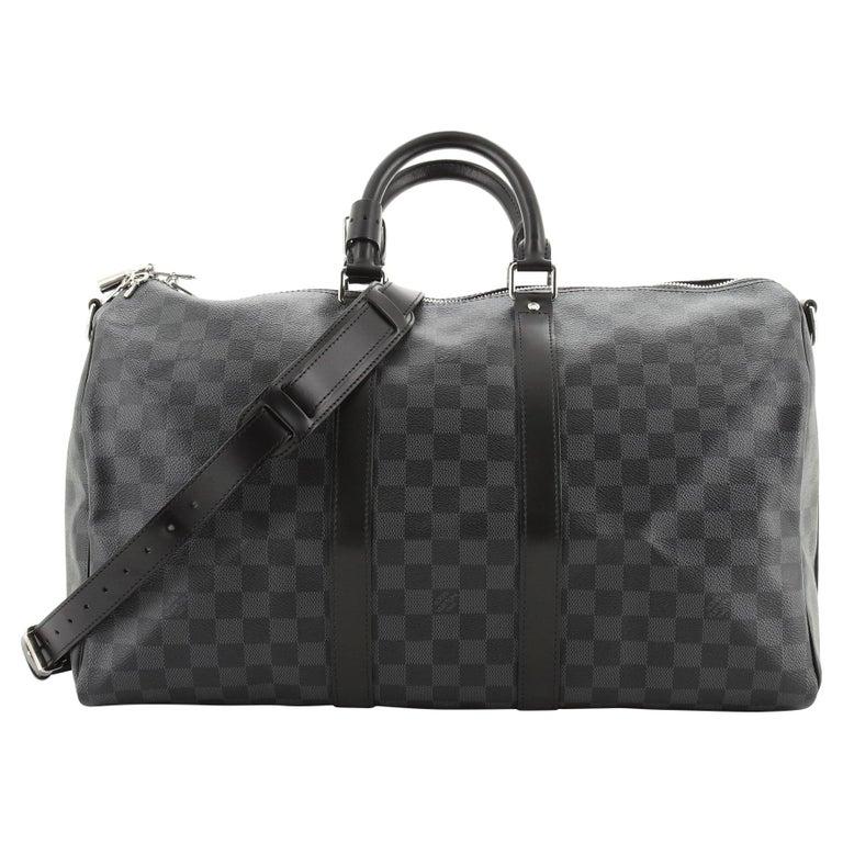 Louis Vuitton Keepall Bandouliere Bag Damier Graphite 45 For Sale