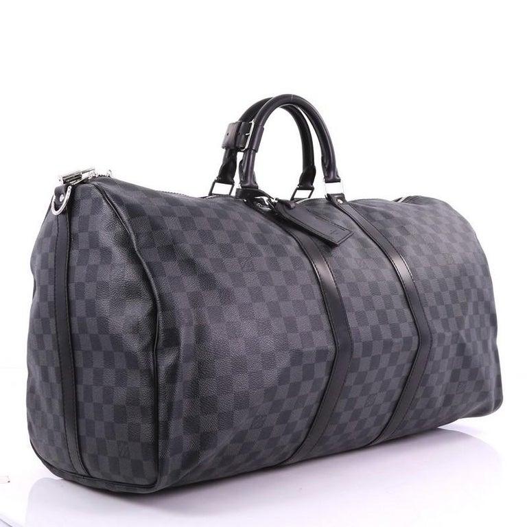Black Louis Vuitton Keepall Bandouliere Bag Damier Graphite 55 For Sale