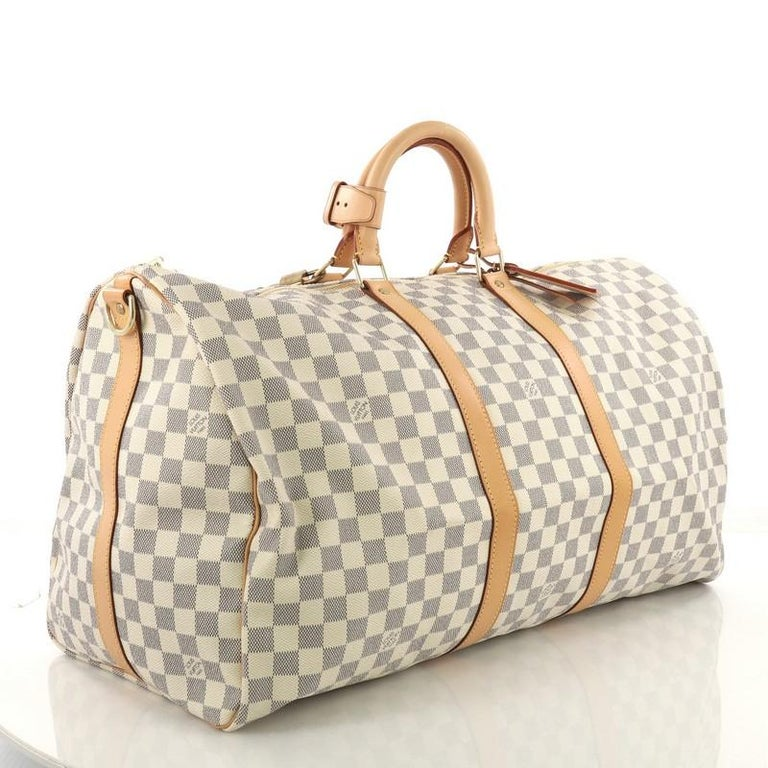 Beige Louis Vuitton Keepall Bandouliere Bag Damier Graphite 55 For Sale