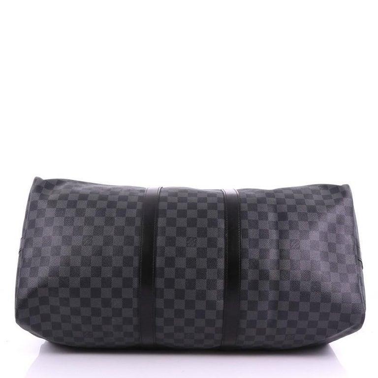 Women's or Men's Louis Vuitton Keepall Bandouliere Bag Damier Graphite 55 For Sale