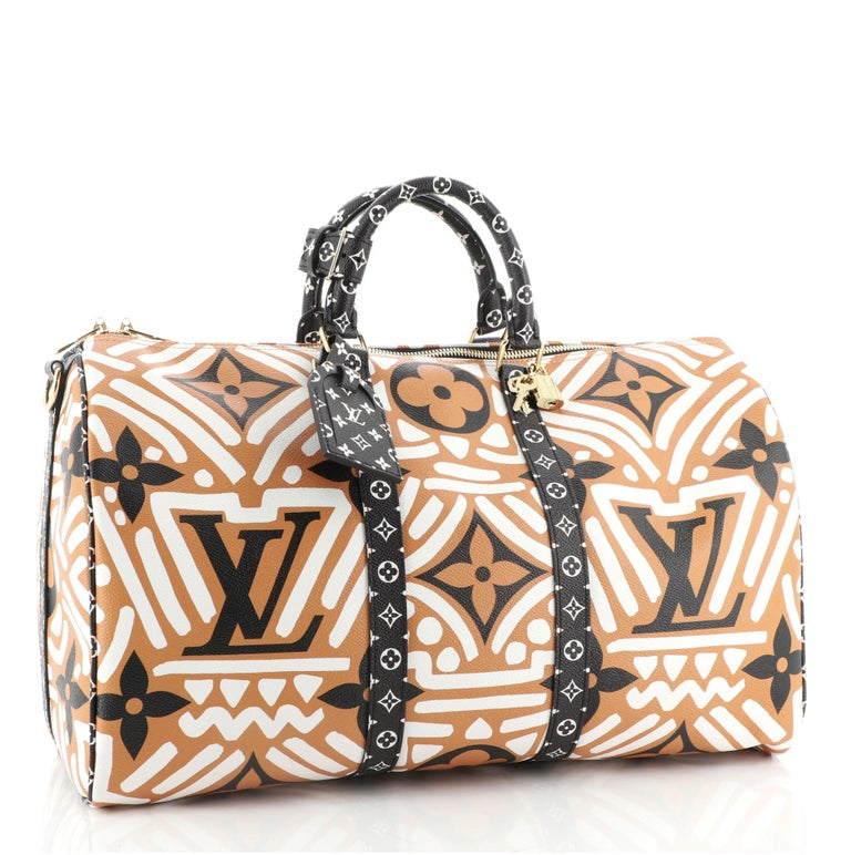 Beige Louis Vuitton Keepall Bandouliere Bag Limited Edition Crafty Monogram Giant 45 For Sale