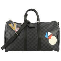 Louis Vuitton Keepall Bandouliere Bag Limited Edition Damier Graphite LV League