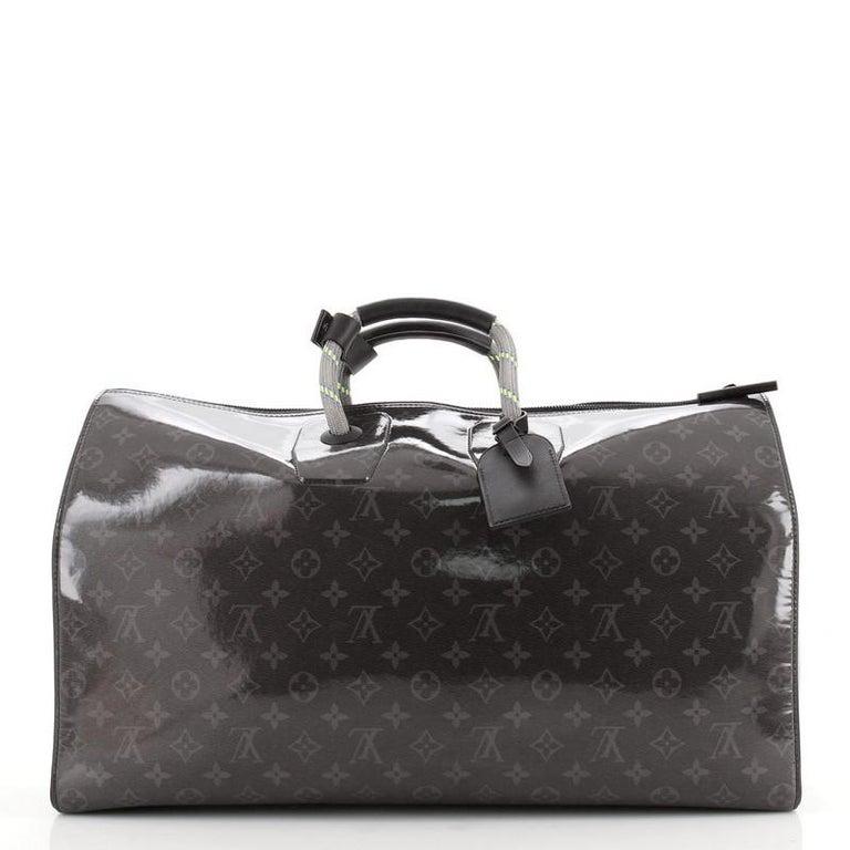 Black Louis Vuitton Keepall Bandouliere Bag Limited Edition Monogram Eclipse Glaze For Sale