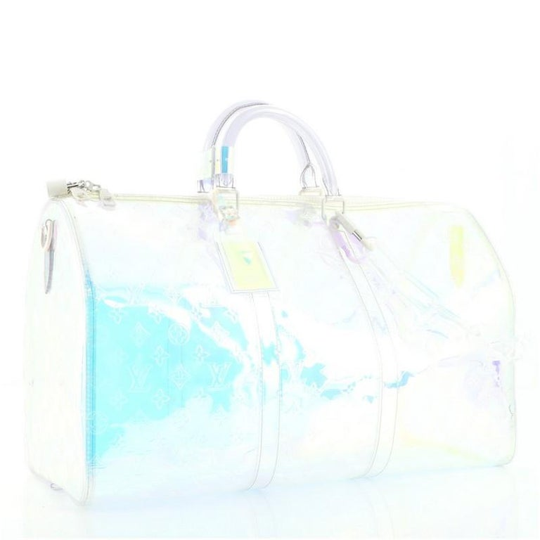 Gray Louis Vuitton Keepall Bandouliere Bag Limited Edition Monogram Prism PVC 50 For Sale