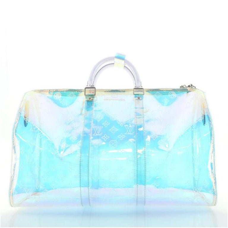 Blue Louis Vuitton Keepall Bandouliere Bag Limited Edition Monogram Prism PVC 50 For Sale