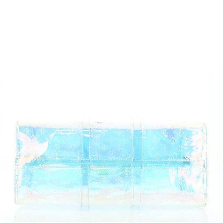 Women's or Men's Louis Vuitton Keepall Bandouliere Bag Limited Edition Monogram Prism PVC 50 For Sale