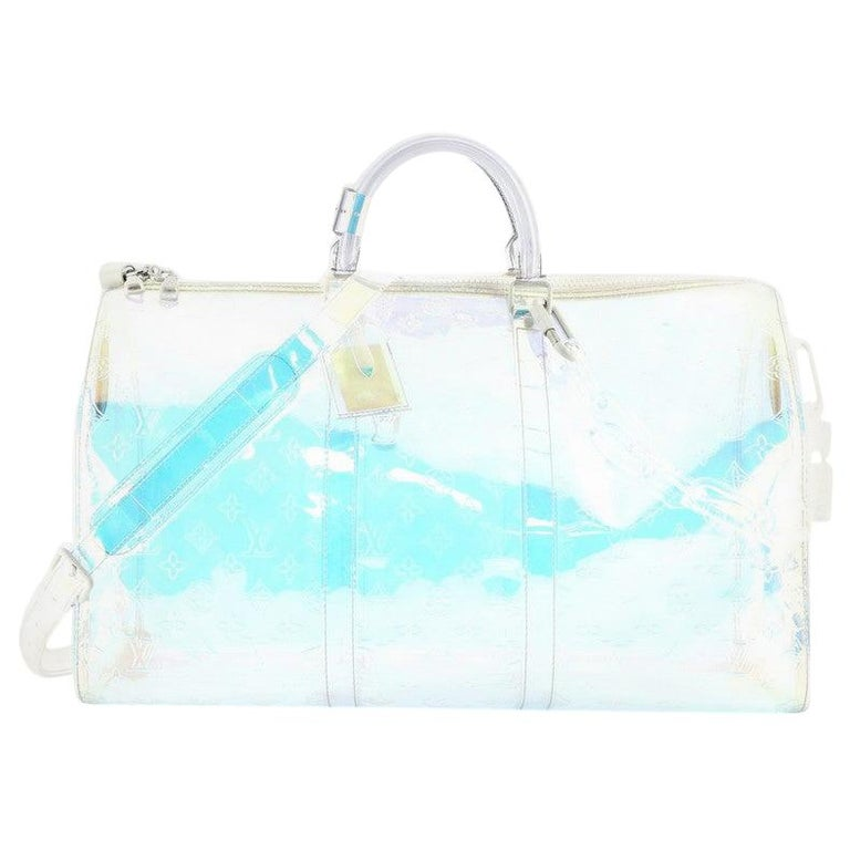 Louis Vuitton Keepall Bandouliere Bag Limited Edition Monogram Prism PVC 50 For Sale