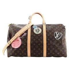 Louis Vuitton Keepall Bandouliere Bag Limited Edition World Tour Monogram Canvas