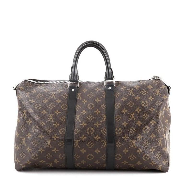 Gray Louis Vuitton Keepall Bandouliere Bag Macassar Monogram Canvas 45