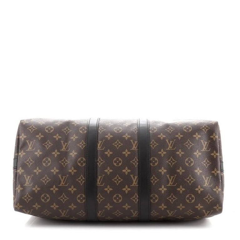 Louis Vuitton Keepall Bandouliere Bag Macassar Monogram Canvas 45 In Good Condition In New York, NY