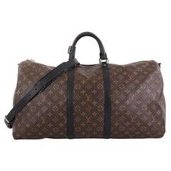 Louis Vuitton Keepall Bandouliere Bag Macassar Monogram Canvas 55