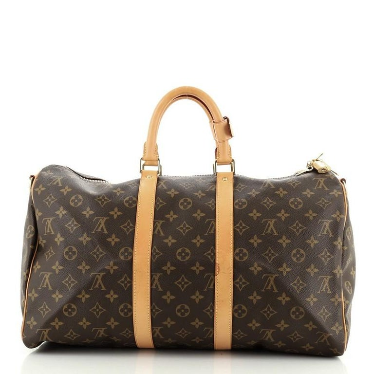 Louis Vuitton Keepall Bandouliere Bag Monogram Canvas 45 In Good Condition For Sale In New York, NY