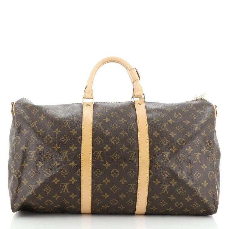 Black Louis Vuitton Keepall Bandouliere Bag Monogram Canvas 50 For Sale