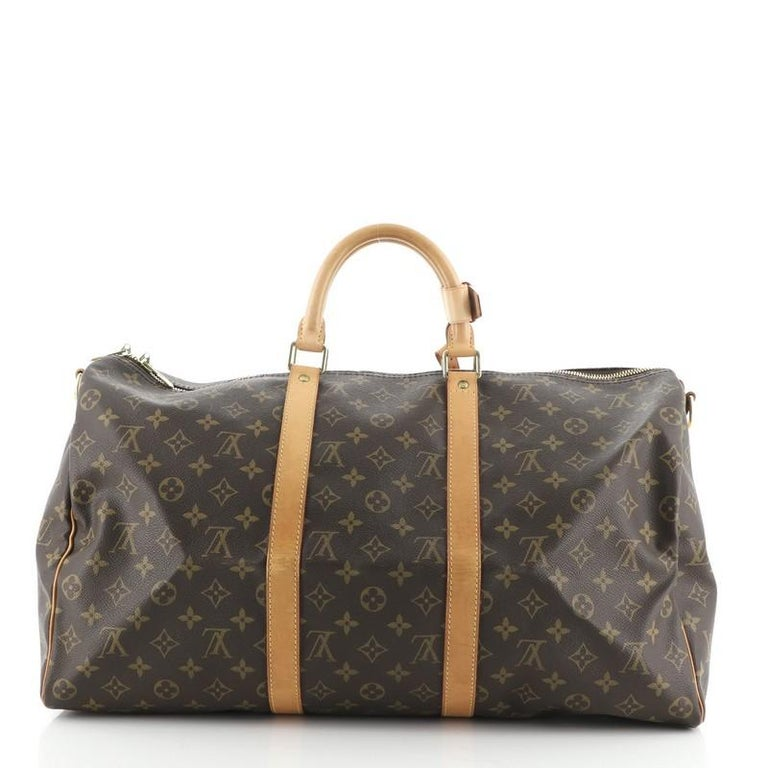 Louis Vuitton Keepall Bandouliere Bag Monogram Canvas 50 In Good Condition For Sale In New York, NY