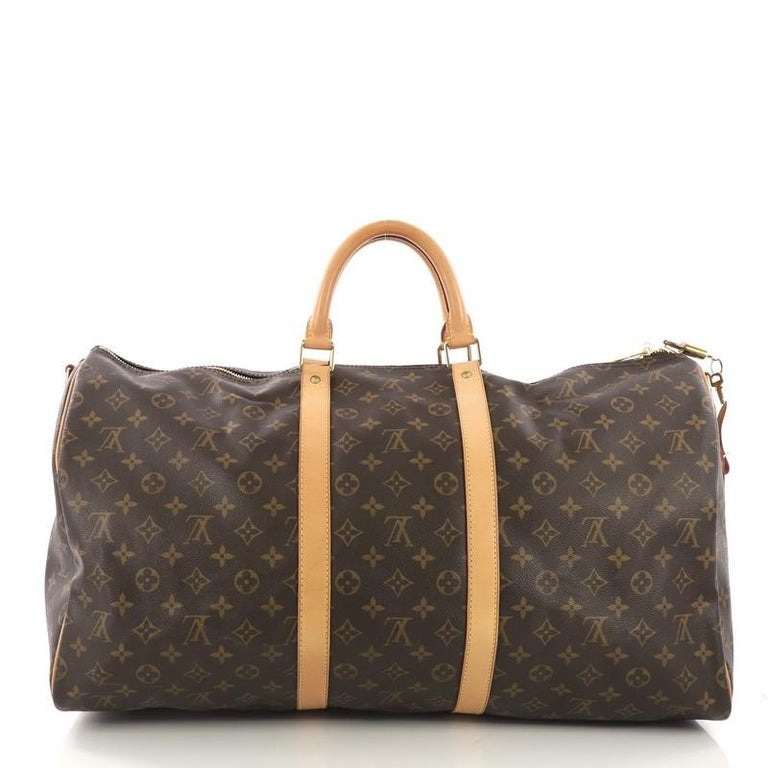 Louis Vuitton Keepall Bandouliere Bag Monogram Canvas 55 In Good Condition For Sale In New York, NY