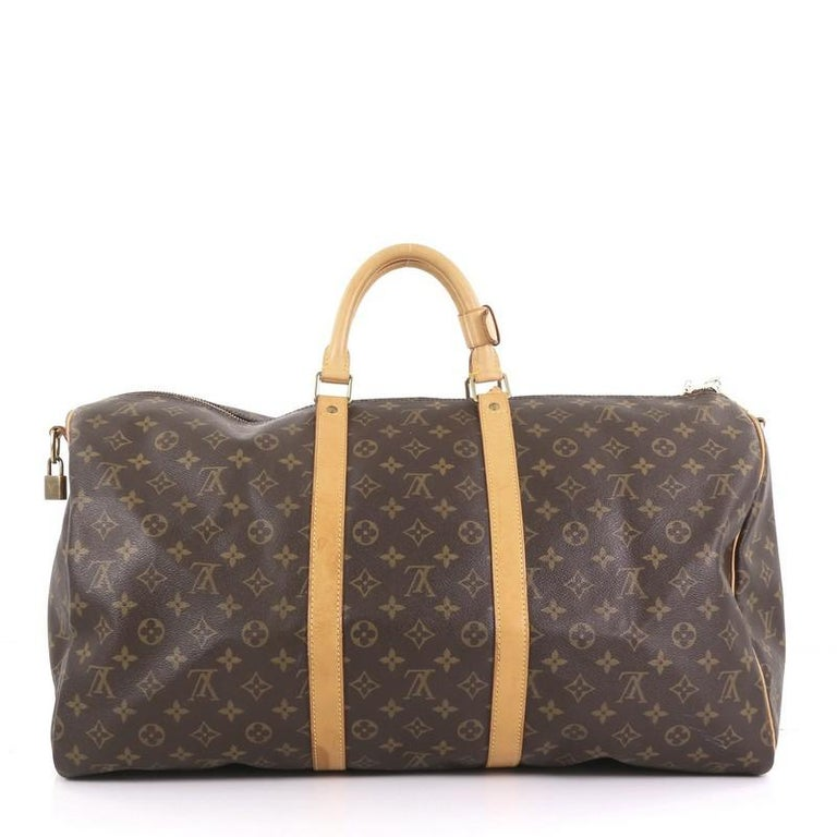 7faa885193dd Louis Vuitton Keepall Bandouliere Bag Monogram Canvas 55 In Good Condition  For Sale In New York