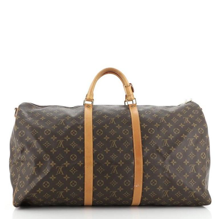 Brown Louis Vuitton Keepall Bandouliere Bag Monogram Canvas 60 For Sale