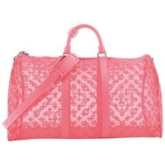Louis Vuitton Keepall Bandouliere Bag Monogram See Through Mesh 50