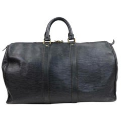 780f1fb8fa74 Louis Vuitton Keepall Duffle 45 Pm 870243 Black Leather Weekend Travel Bag