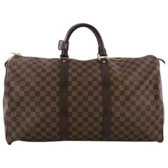 4f8559b9cbc6 Louis Vuitton Keepall Duffle 50 870229 Brown Coated Canvas Weekend Travel  Bag