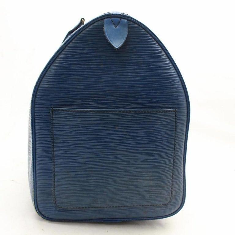 80eb20f3fdf9 Louis Vuitton Keepall Duffle Epi Toledo 45 869483 Blue Leather Weekend  Travel Ba For Sale