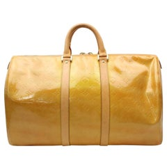 Louis Vuitton Keepall Duffle Mercer 870129 Yellow Patent Leather Travel Bag