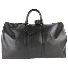 Louis Vuitton Keepall Duffle Noir 45 5lz0129 Black Leather Weekend/Travel Bag